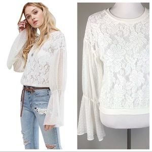 NWT Free People Poet Prophecy Ivory Lace Top XS